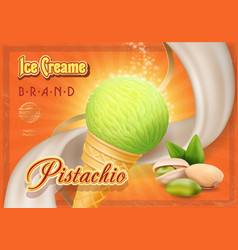 pistachio nuts ice cream advertising vector image vector image