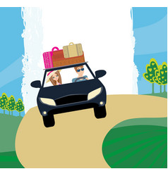 Happy travel couple in car vector