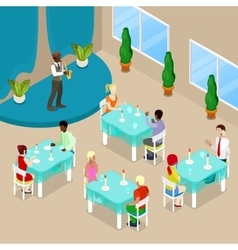 Isometric Restaurant Interior with People vector image