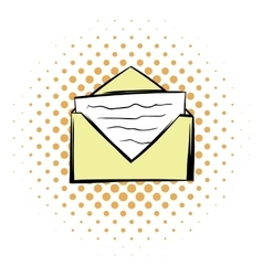 Letter in envelope comics icon vector