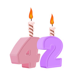 42 years birthday number with festive candle for vector