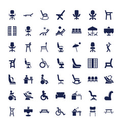 49 chair icons vector
