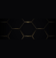 Abstract golden lines hexagon geometric pattern vector