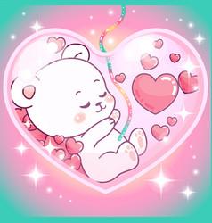 Adorable teddy bear girl inside mommys belly vector