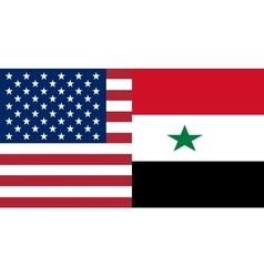American and Syrian flags together vector