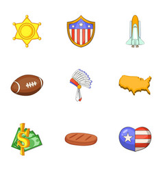 american things icons set cartoon style vector image