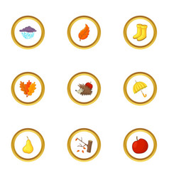 autumn time icons set cartoon style vector image