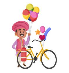 Balloon seller cartoon character vector