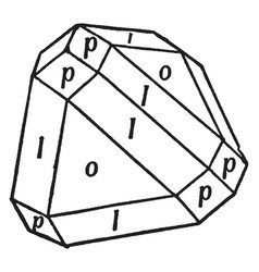 Beveled tetrahedron vintage vector