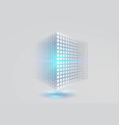 big data cube 3d geometric cube from small pieces vector image