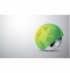 black globe earth with a round green shield vector image