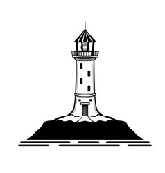 black lighthouse sign vector image
