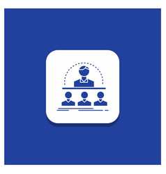 Blue round button for business coach course vector