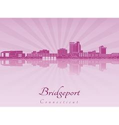 Bridgeport skyline in purple radiant orchid vector image