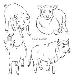 Bull goat pig sheep vector