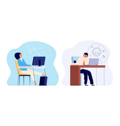 burnout at work tired woman stress man worker vector image