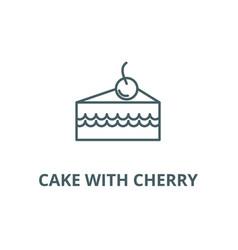 cake slice with cherry line icon cake vector image
