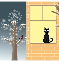 Cat and bird in winter vector