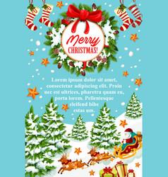 christmas greeting card of santa sleigh with gift vector image