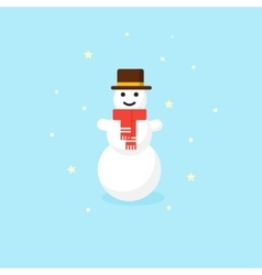 Christmas Snowman in red scarf and hat vector image