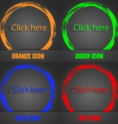 Click here sign icon Press button Fashionable vector