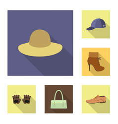 clothes and accessories flat icons in set vector image