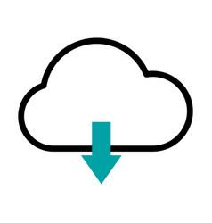 Cloud with dowload arrow icon half line half vector