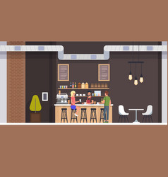coffe shop interior people drinking latte flat vector image