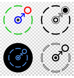 Composition of gradiented dotted move to circle vector