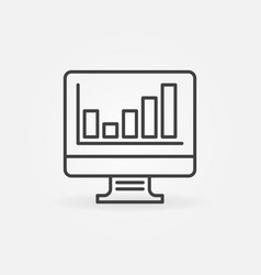 Computer display with bar chart linear icon vector