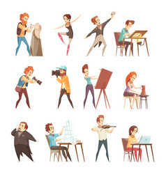 Creative professions cartoon icons set vector