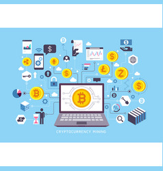 cryptocurrency mining conceptual design vector image
