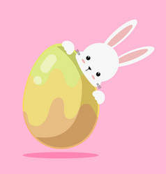 cute white bunny rabbit easter with easter egg vector image