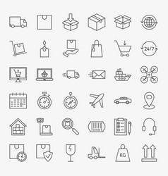 Delivery line icons set vector