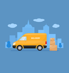 delivery truck with cardboard boxes vector image
