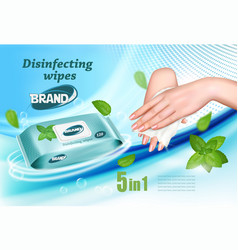 Desinfecting wet wipes ad template female hands vector
