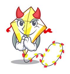 Devil cute kite flying the on mascot vector