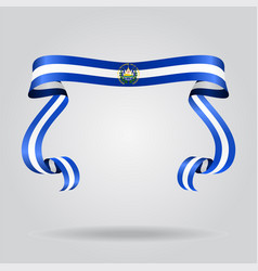 el salvador flag wavy ribon background vector image