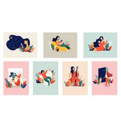 feminine concept beautiful women vector image