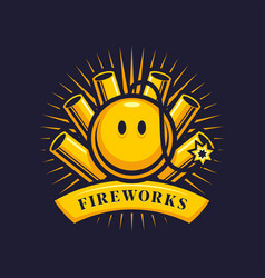 Firework emblem with firecrackers and smiling bomb vector