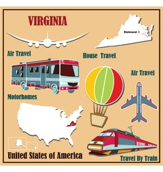Flat map of Virginia vector image vector image