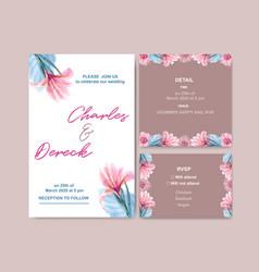 Floral charming wedding card design with vintage vector