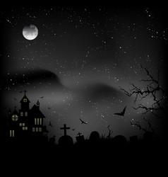 Fog over graveyard and a castle vector