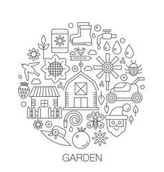 garden in circle - concept line for vector image