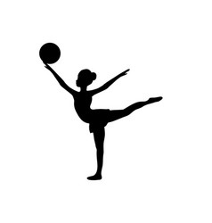 girl gymnastic sport silhouette sportswoman ball vector image