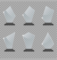 Glass trophy award set vector