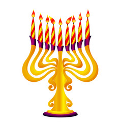 gold menorah icon cartoon style vector image