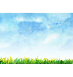 Green grass filed with blue sky watercolor vector