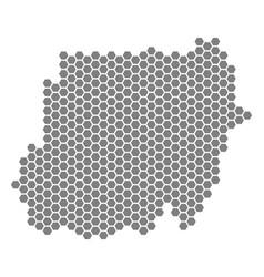 Grey hexagon sudan map vector