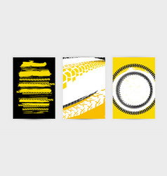 Grunge tire posters set 17-17 vector